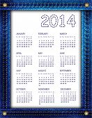 A blue denim calendar for 2014. Also available in vector format