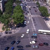 foto of gaul  - View of traffic on Place Charles de Gaule from Arc de Triomphe in Paris - JPG