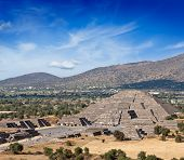 Famous Mexico landmark tourist attraction - Pyramid of the Moon, view from the Pyramid of the Sun. Teotihuacan, Mexico poster