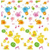 Colorful baby animal pattern