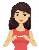 Illustration of a Woman Cutting an Unlit Cigarette in Two