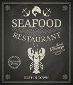 stock photo of drawing beer  - Seafood restaurant poster on chalkboard - JPG