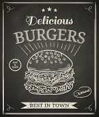 stock photo of burger  - Burger house poster on chalkboard - JPG