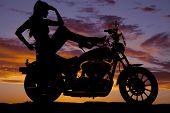 Silhouette Woman Motorcycle Heels Up Hand Head