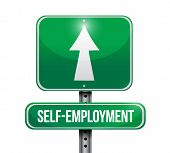 image of self-employment  - self employment road sign illustration design over a white background - JPG