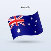 Australia flag waving form. Vector illustration.