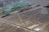 stock photo of geoglyph  - Triangulos and Trapezoids. The Nazca Lines are a series of geoglyphs located in the Nazca Desert. Peru.