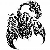 stock photo of scorpion  - Scorpion Tattoo Vector on a Isolated Background - JPG