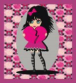 picture of emo  - sweet Emo girl on abstract background card  - JPG