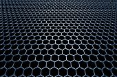 Blue Steel Grid With Hexagonal Holes In Perspective View