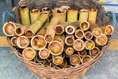 Glutinous rice roasted in bamboo joints