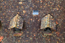 picture of gabled dormer window  - Old brown tile roof with two small dormer - JPG
