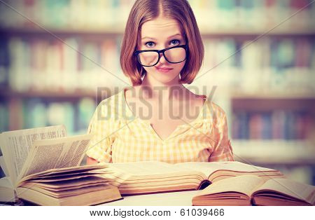 Funny Girl Student With Glasses Reading Books poster