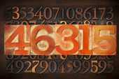 numerical abstract background - numbers in vintage letterpress wood type