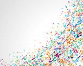 Colorful music background with notes. Vector background.