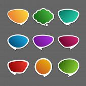 Empty colorful speech bubbles set paper shadow effect vector illustration