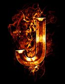 j, illustration of  letter with chrome effects and red fire on black background