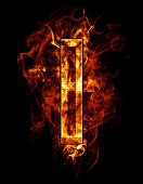 i, illustration of  letter with chrome effects and red fire on black background