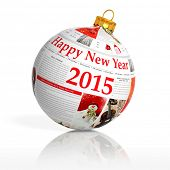 Newspaper happy new year 2015 ball on white background