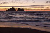 Sunset At Holywell Bay, Newquay Uk