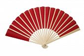 Red oriental fan on white