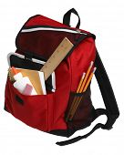 stock photo of zipper  - Back to School still life with red backpack and school supplies on white - JPG