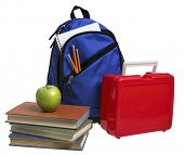 picture of red back  - Back to School still life on white - JPG
