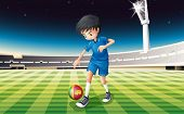 Illustration of a boy kicking the ball with the flag of Sri Lanka