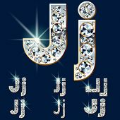 Ultimate vector alphabet of diamonds and platinum ingot. Six options. Letter j