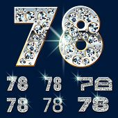 Ultimate vector alphabet of diamonds and platinum ingot. Six options. Numbers 7 8