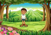 Illustration of a schoolboy in the middle of the forest