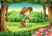 Illustration of a lady with a backpack and a hat at the forest