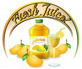 Illustration of a fresh mango juice label on a white background
