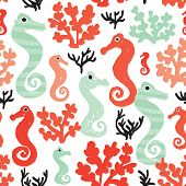 Seamless seahorse and ocean coral and mint trendy illustration decorative background pattern in vect