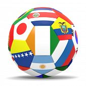 3D render of football with drop shadow and flags representing all countries participating in footbal