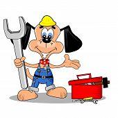 A cartoon dog repair man