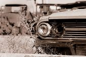 stock photo of scrap-iron  - Old abandoned cars in the junk yard - JPG