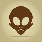 Vintage Alien Head Silhouette