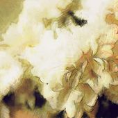 art floral vintage light sepia blurred background with white asters