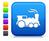 Locomotive Icon on Square Internet Button Collection