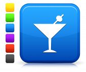Martini Icon on Square Internet Button Collection