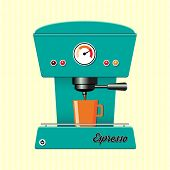Retro style coffee maker on candy-stripe background.