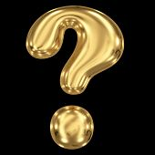 3d brushed golden symbol - question mark