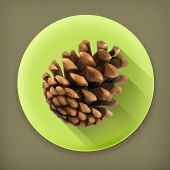 Pine cone, long shadow vector icon