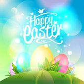 Happy Easter design with eggs and bokeh lights. Eps10.