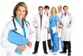 stock photo of health-care  - Smiling medical people with stethoscopes - JPG