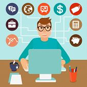 foto of self-employment  - Vector self employed man in flat style  - JPG