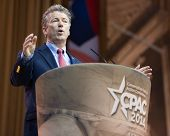 NATIONAL HARBOR, MD - MARCH 7, 2014: Senator Rand Paul (R-KY) speaks at the Conservative Political A
