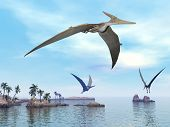 stock photo of enormous  - Three pteranodon dinosaurs flying upon landscape with hills - JPG