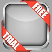 Blank App Icon With Free Trial Ribbon, Vector Illustration
